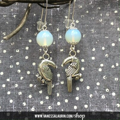 Moonbeams Collection: Opalite bird earrings