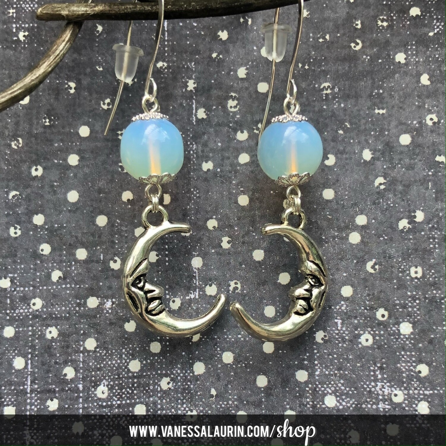 Moonbeams Collection: Opalite crescent moon earrings