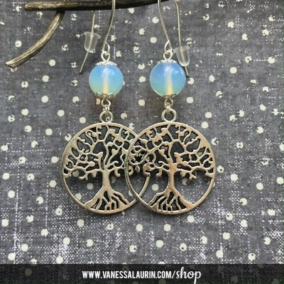 Moonbeams Collection: Opalite tree of life earrings