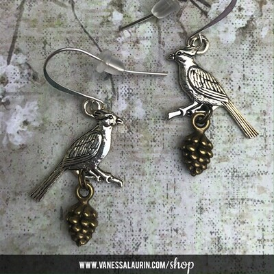 Woodland Whimsy Collection: Jay and pine cone earrings