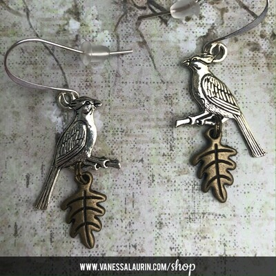 Woodland Whimsy Collection: Jay and leaf earrings
