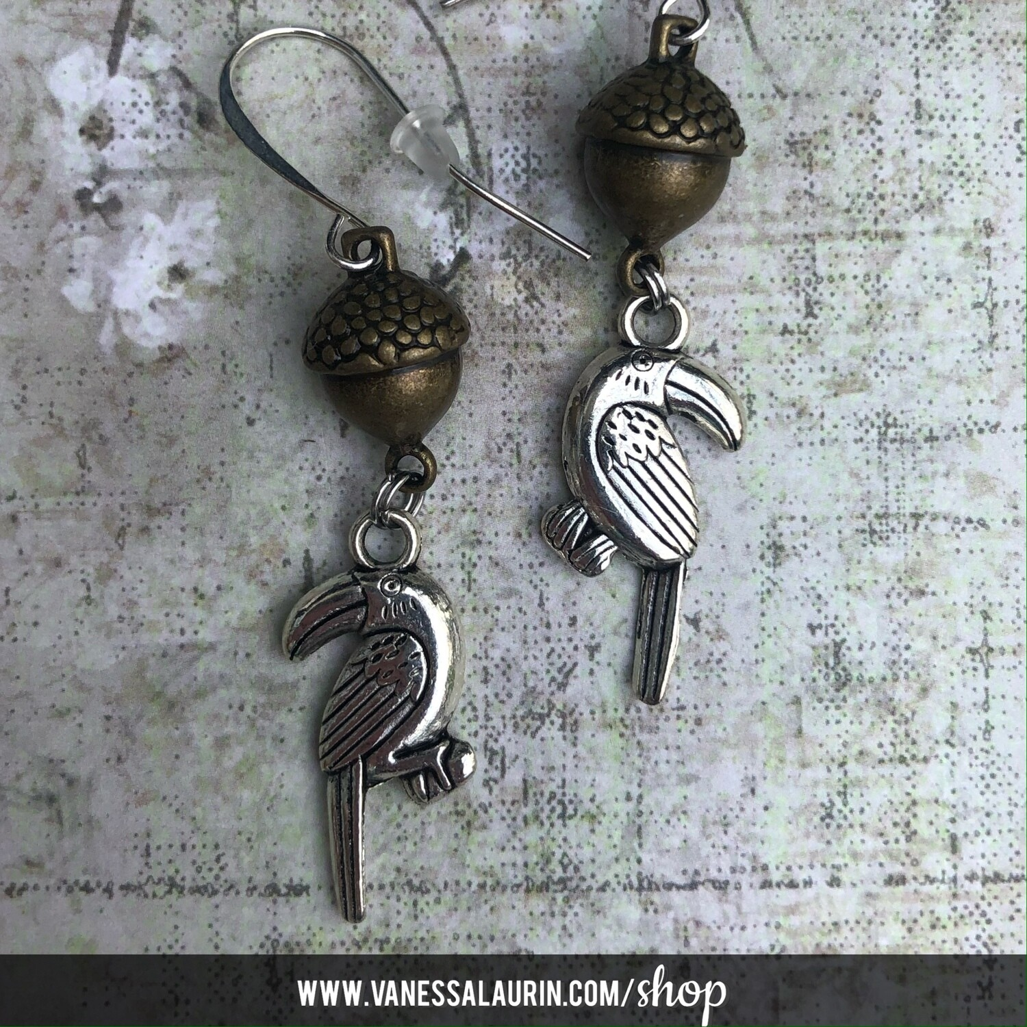 Woodland Whimsy Collection: Bird and acorn earrings