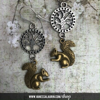 Woodland Whimsy Collection: Squirrel and tree earrings