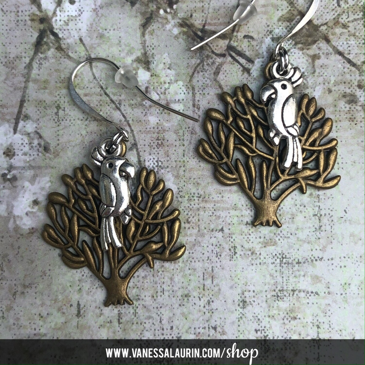 Woodland Whimsy Collection: Bird in tree earrings