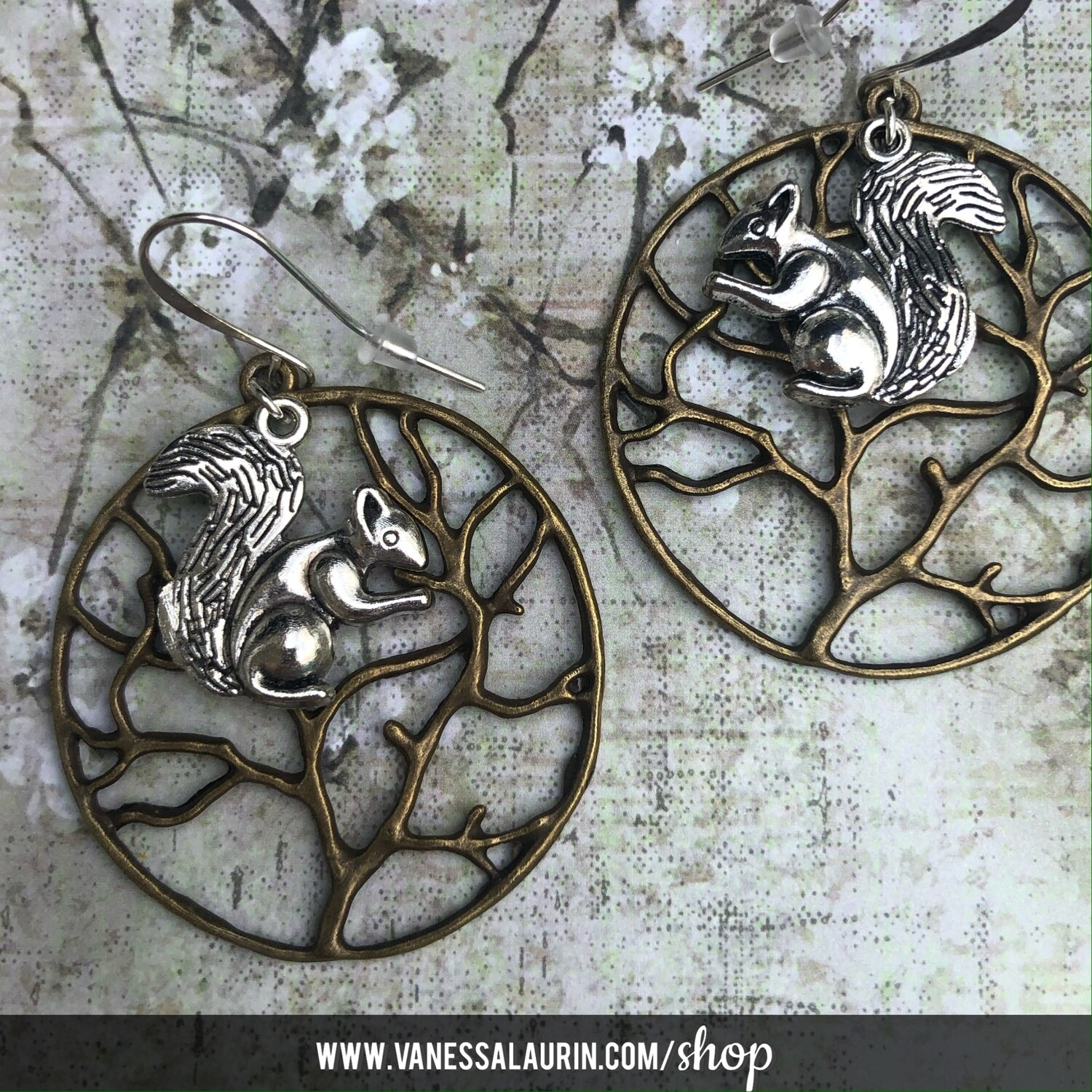Woodland Whimsy Collection: Squirrel in tree earrings
