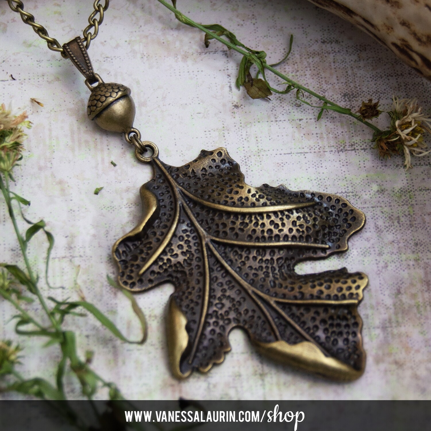 Woodland Whimsy Collection: Acorn and oak leaf pendant