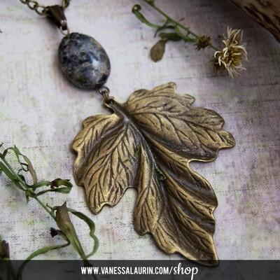 Woodland Whimsy Collection: Kambaba jasper and maple leaf pendant