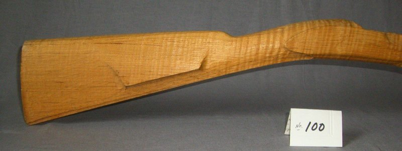 LEFT HAND Early Hawken Pre-carved Stock;  Curly Red Maple