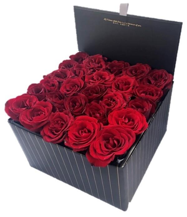 Large black box of roses