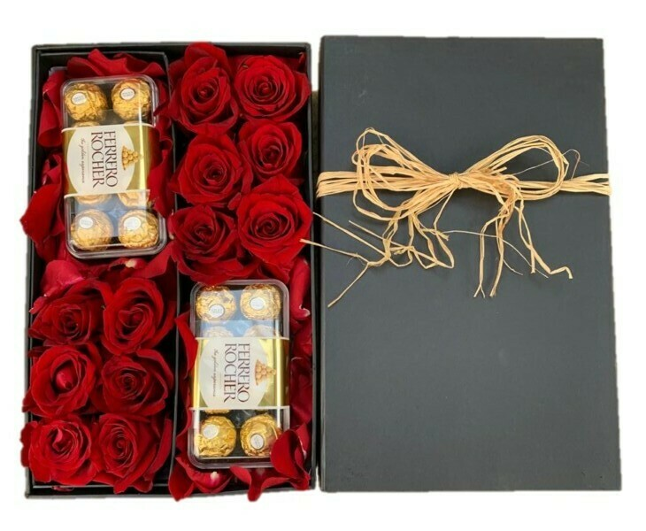 Red Roses in Drawer black Box with chocolates frerro rocher