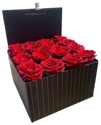 16 Red Roses in black box