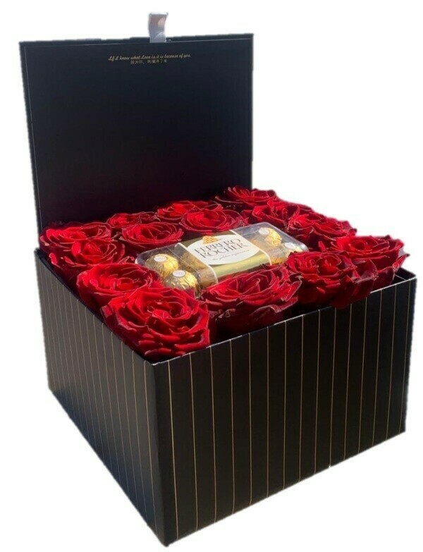 Large black box of roses with chocolate