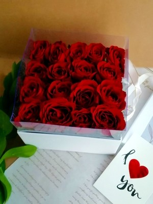 Red Roses in square white box