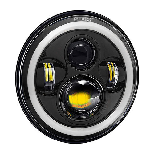 35 WATT- Full Ring 7 Inch Round Hi/Lo Cree Led Headlights with DRL and Halo Angel Eyes