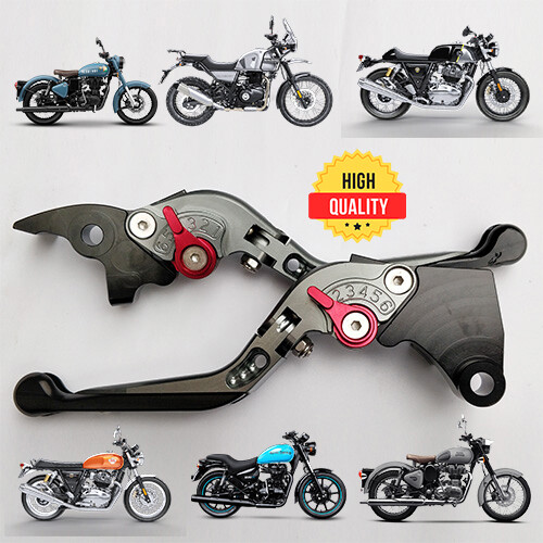 Folding Adjustable Brake Clutch Levers For All Royal Enfield - Titanium