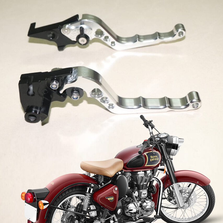 New Adjustable Brake Clutch Levers For Royal Enfield classic, - Silver