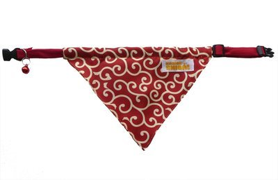 Kawaii Shiba Co. Red Karakusa Japanese Shiba Inu Dog Bandana With Adjustable Collar