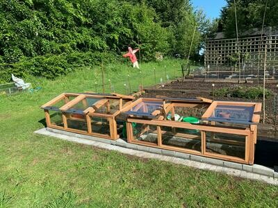 6ft x 2ft Fully Glazed Cedar Coldframe