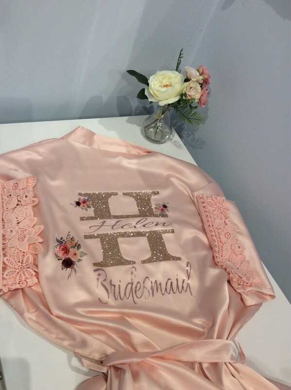 Personalised glitter monogram designed satin robe