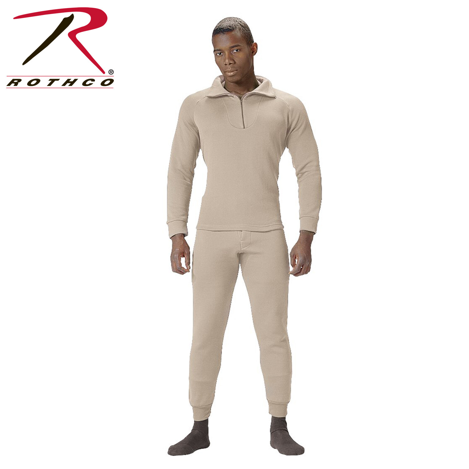 Rothco, 5425, Desert Sand Extended Cold Weather Poly Zip Tops