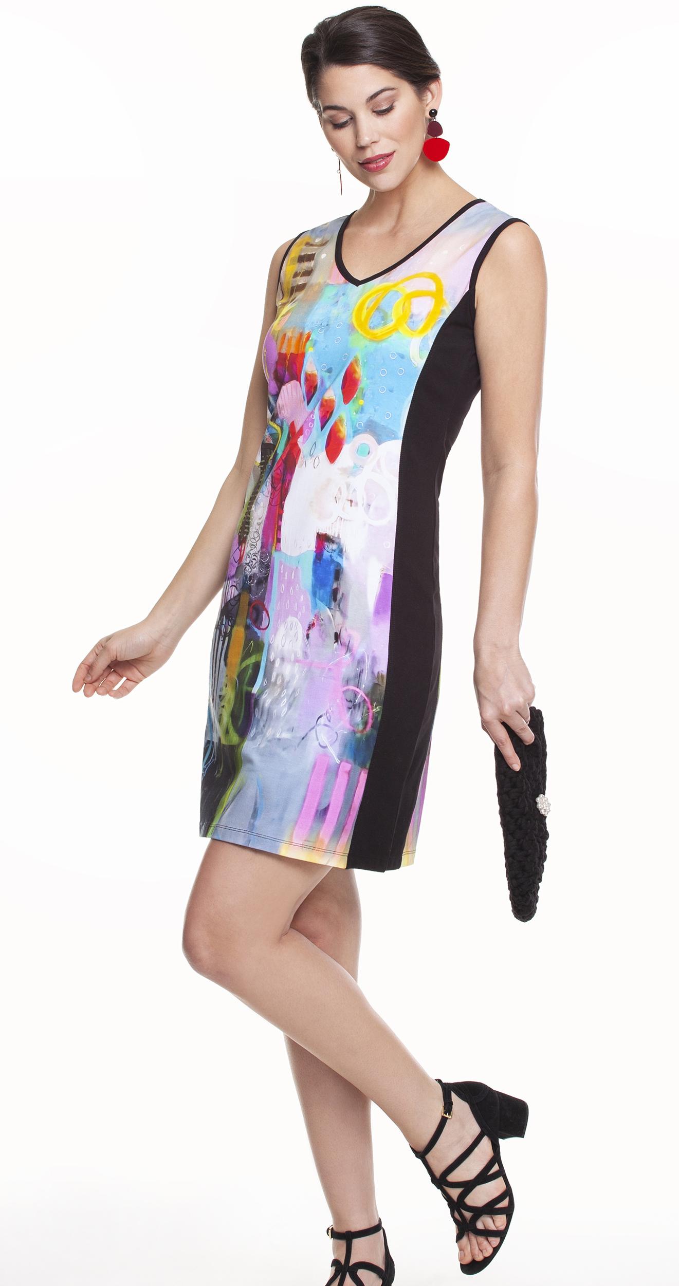 Simply Art Dolcezza: Fuschia Pink Cheek To Cheek Art Midi Dress SOLD OUT DOLCEZZA_SA_19615_N