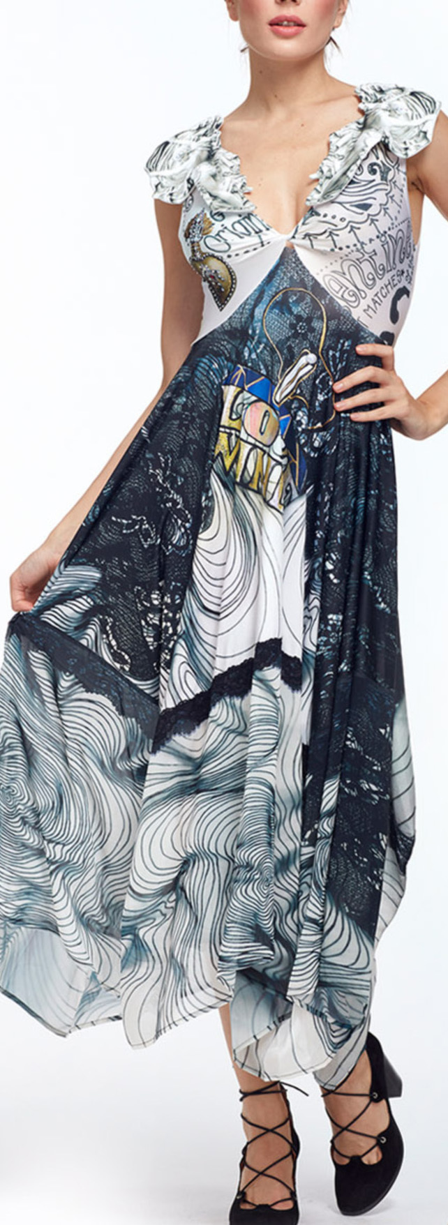 IPNG: Love Me Black Sweetheart Asymmetrical Maxi Dress (Some Ship Immed!)
