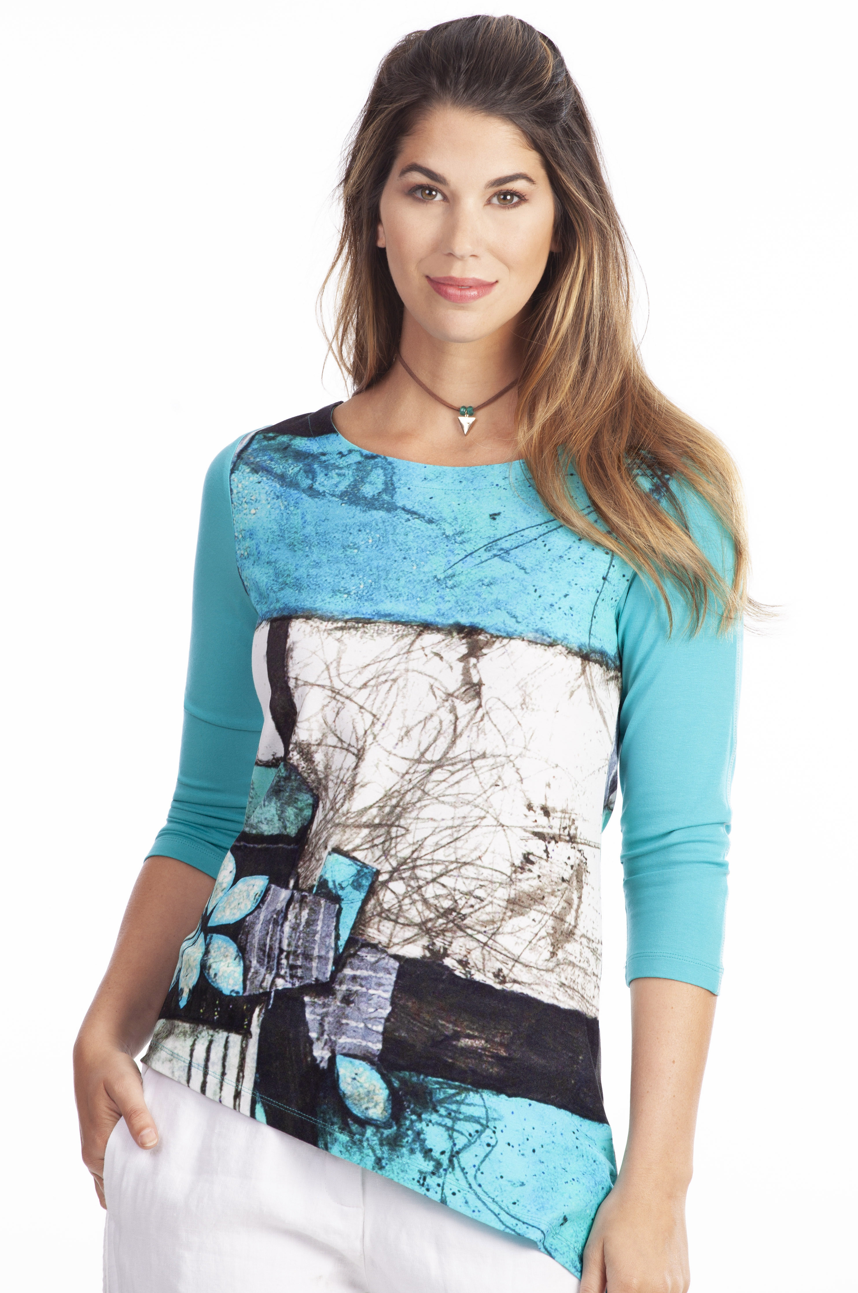 Simply Art Dolcezza: Ocean Breeze Orchid Asymmetrical Art Tunic SOLD OUT DOLCEZZA_SA_19663_N