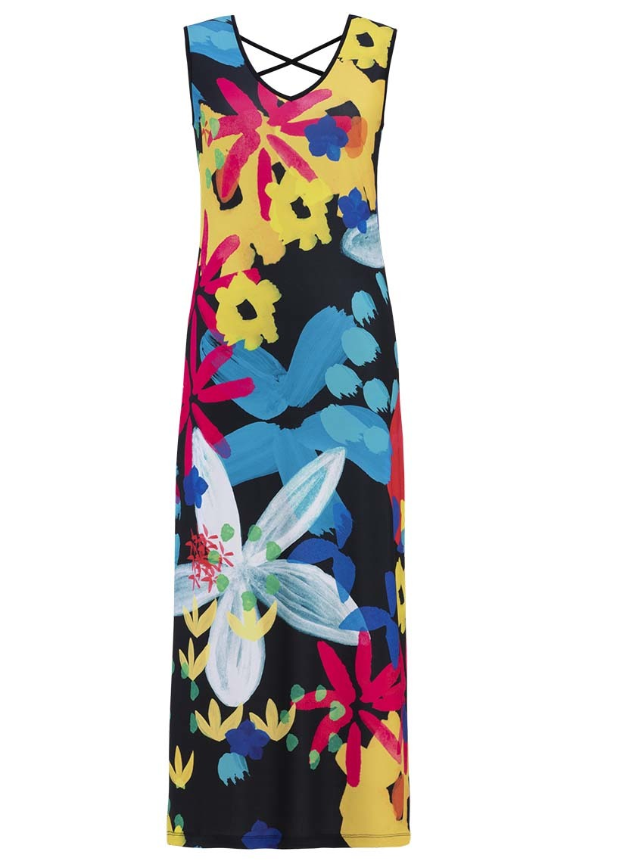 Simply Art Dolcezza: Intense Garden Of Zen Abstract Art Maxi Dress (2 Left!) DOLCEZZA_SA_19687_N