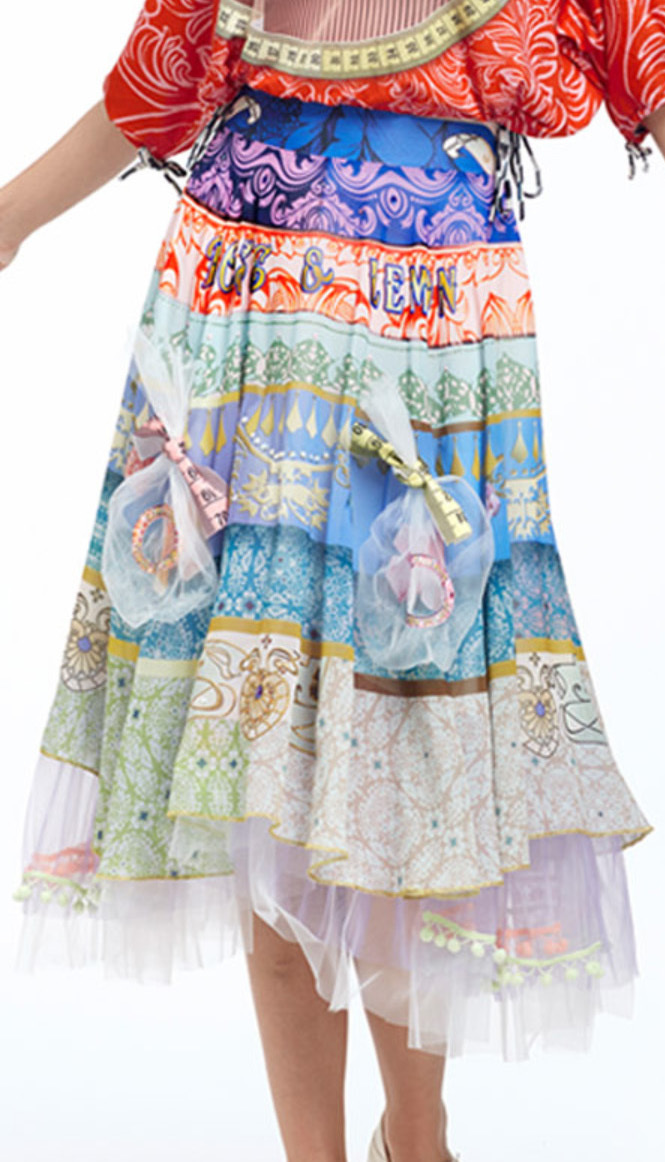 IPNG: Bow Tied Lokoometric Illusion Midi Skirt (Some Ship Immed, 1 Left!) IPNG_LOMSKS-044_N