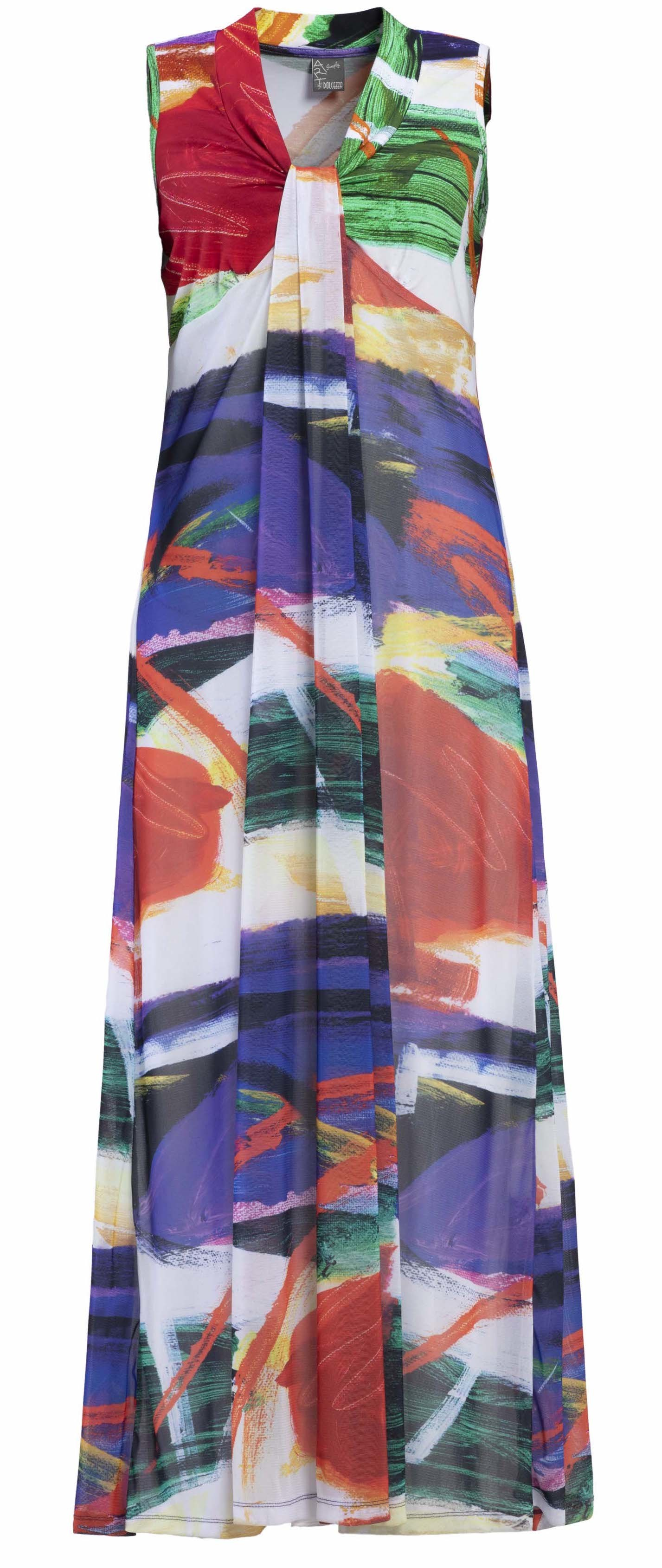 Dolcezza Simply Art: Symphony In Red Abstract Art Maxi Sundress (1 Left!) DOLCEZZA_SIMPLYART_19753