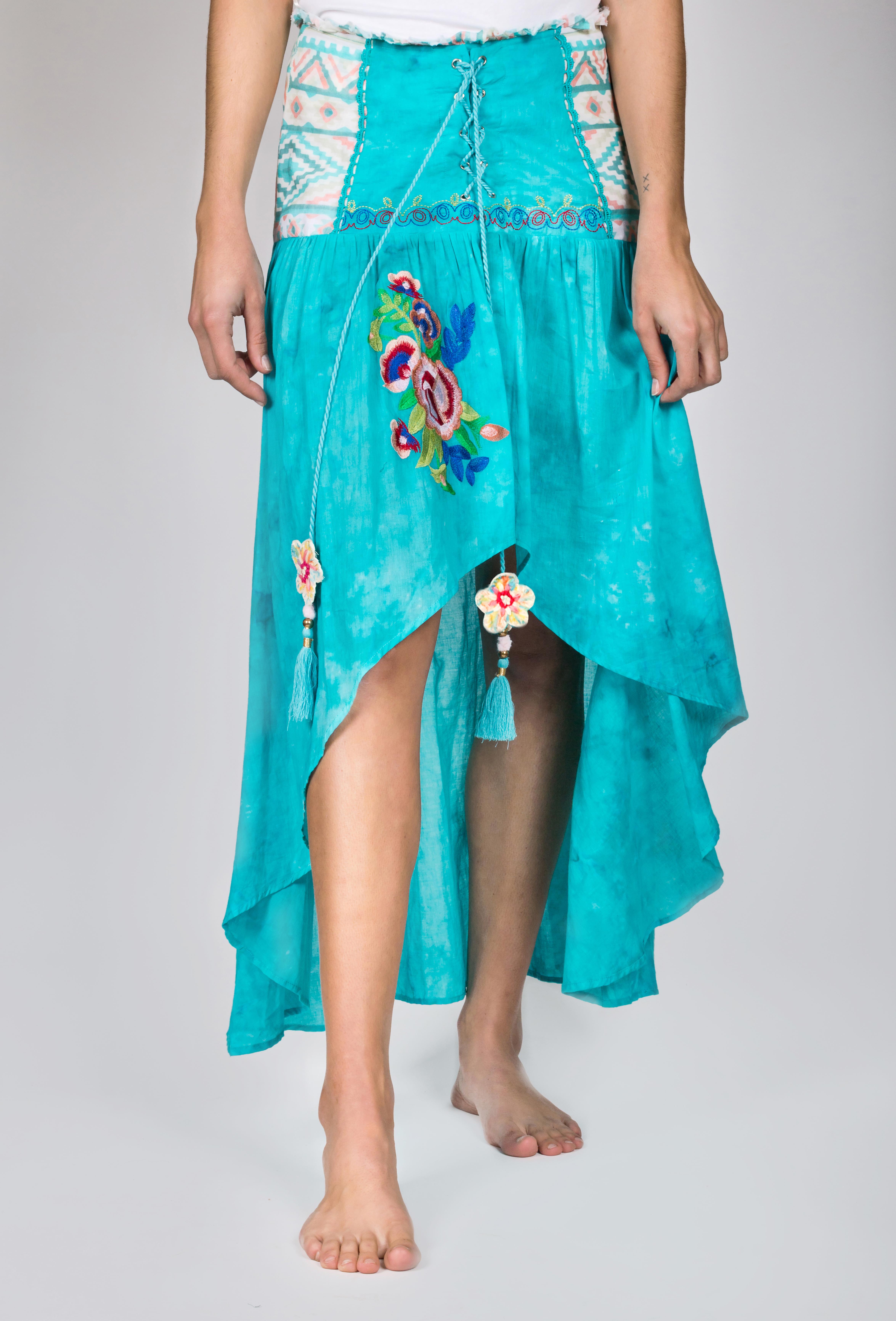 Shoklett: High Low Corset Waist Sea Flower Skirt Sherlyn (1 Left!) SHOKLETT_23S19SK