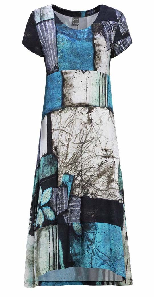 Simply Art Dolcezza: Ocean Breeze Orchid Asymmetrical Flared Midi Dress (1 Left!) DOLCEZZA_SIMPLYART_19668_N
