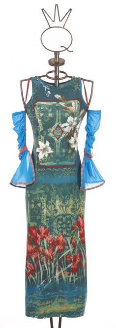 Save The Queen Italy: Monet Garden With Tulip Sleeves Dress STQ_TULIP_N1