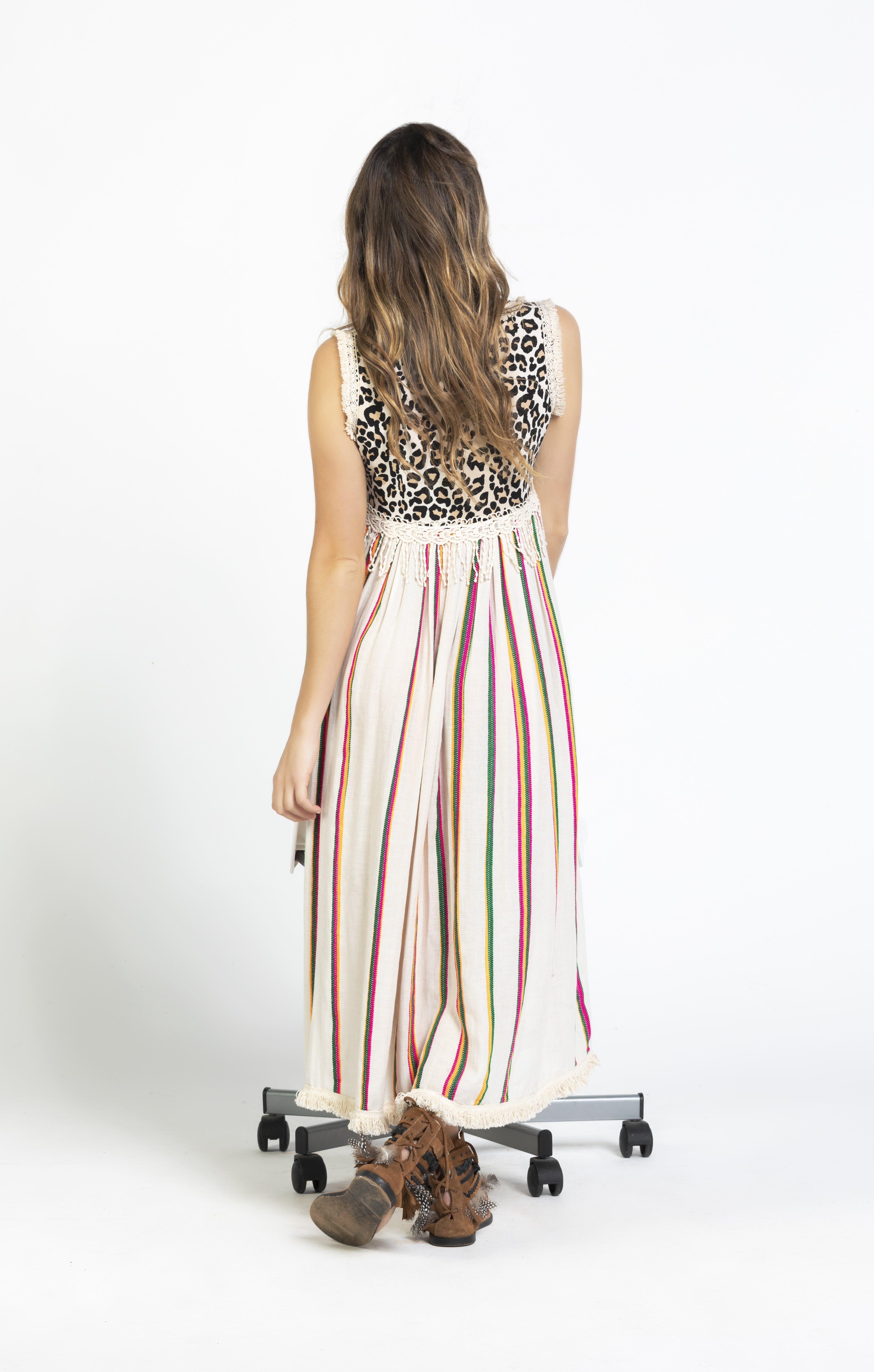 Savage culture: Pink Leopard Boho Maxi Dress