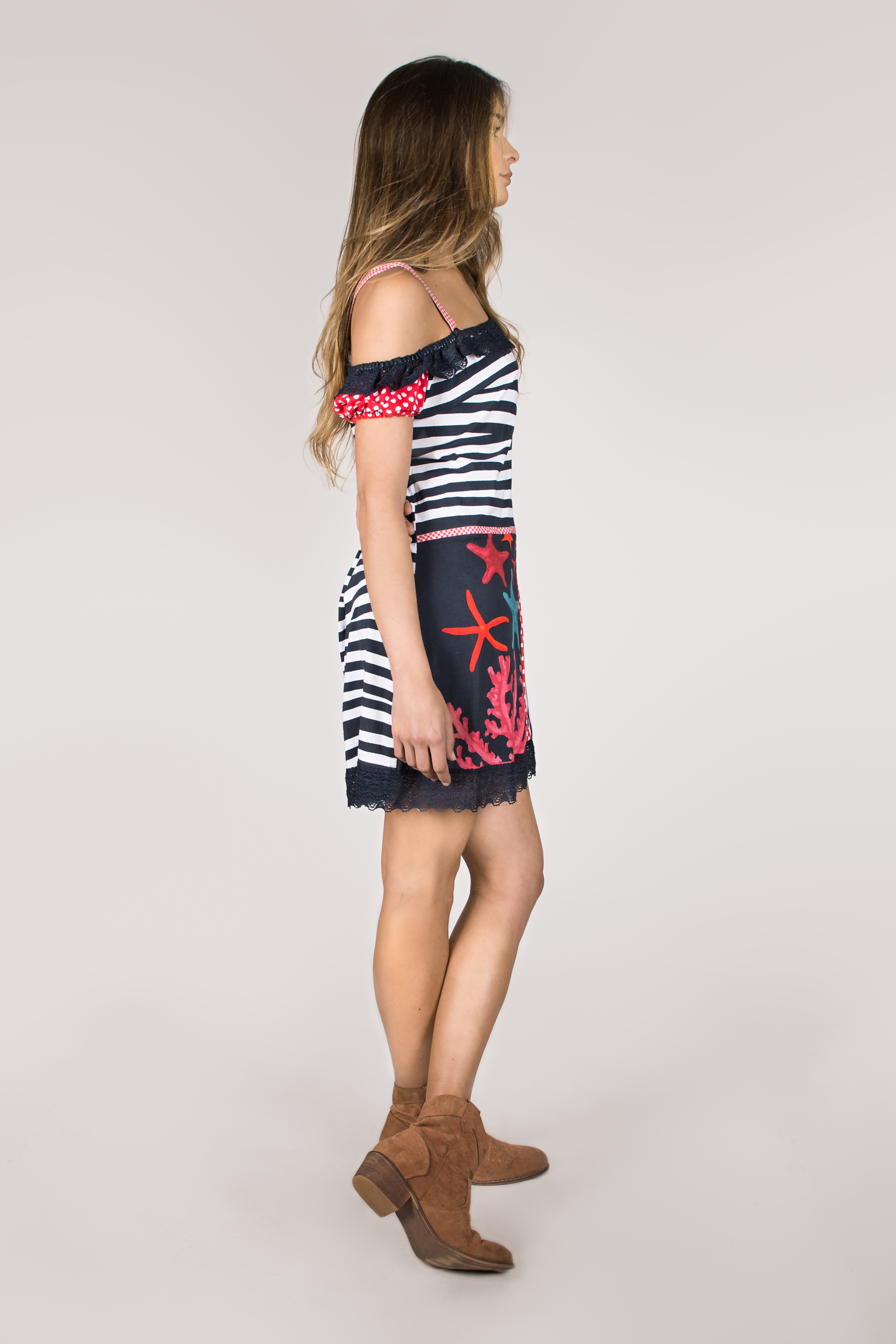 Shoklett Spain: Pink Coral Cotton Ruffled Short Dress Zoey SOLD OUT