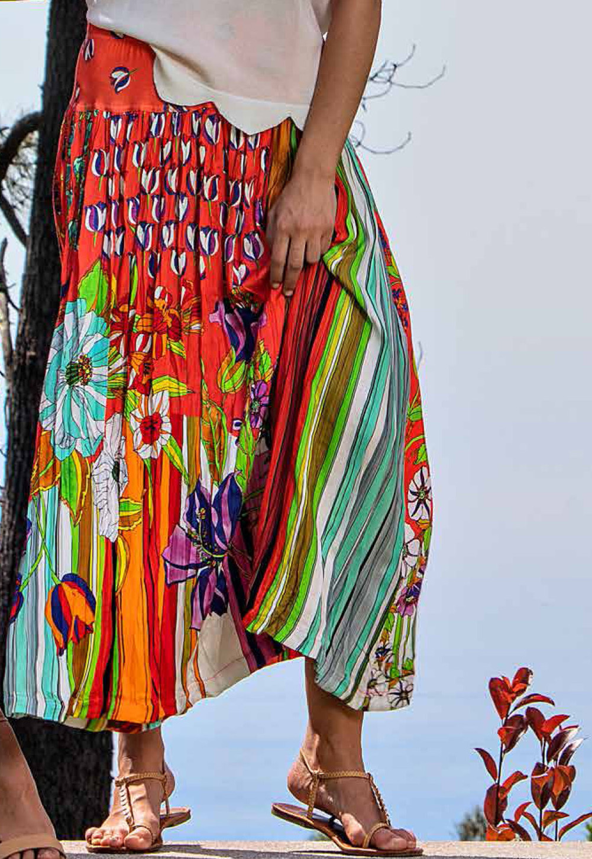 Paul Brial: Tantalizing Crinkled Patchwork Of Tulips Maxi Skirt (Few Left!) PB_ETAMINE_N