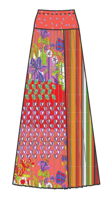 Paul Brial: Tantalizing Crinkled Patchwork Of Tulips Maxi Skirt (Few Left!)