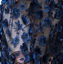 Paul Brial: Blue Rose Petal Cold Shoulder Cocktail Dress