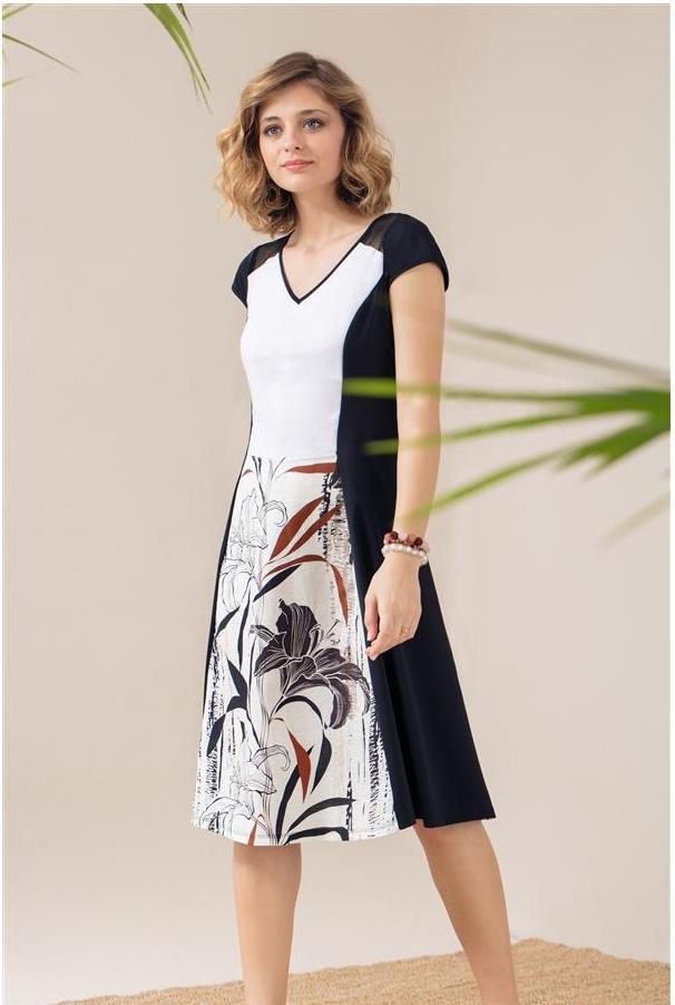 Maloka: Black Lily Sketch Art Mixed Media Midi Dress MK_YAELE