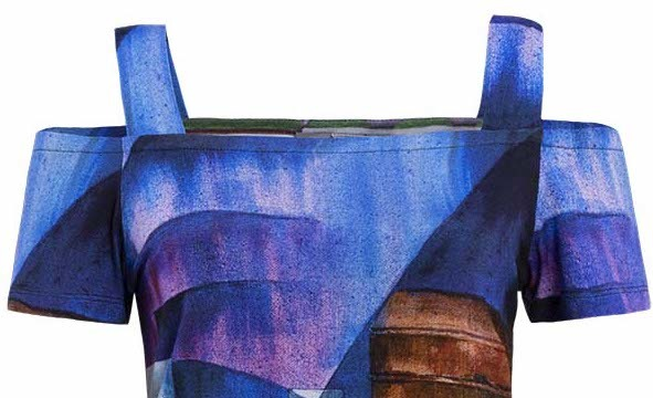 Simply Art Dolcezza: Sandycove Harbor Abstract Art Cold Shoulder Tunic