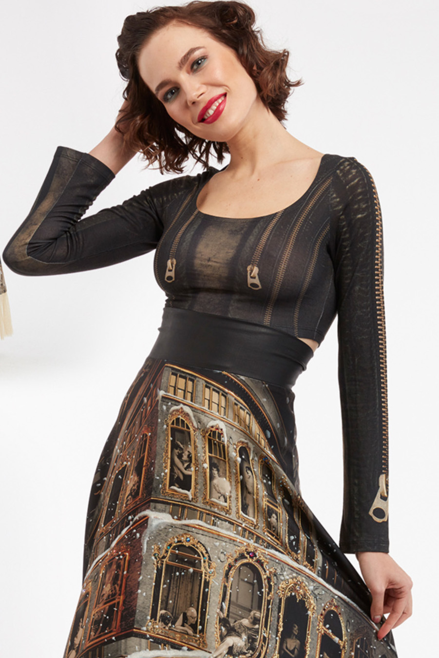 IPNG: Biker Chic Zip Illusions Crop Top (Some Ship Immed!)