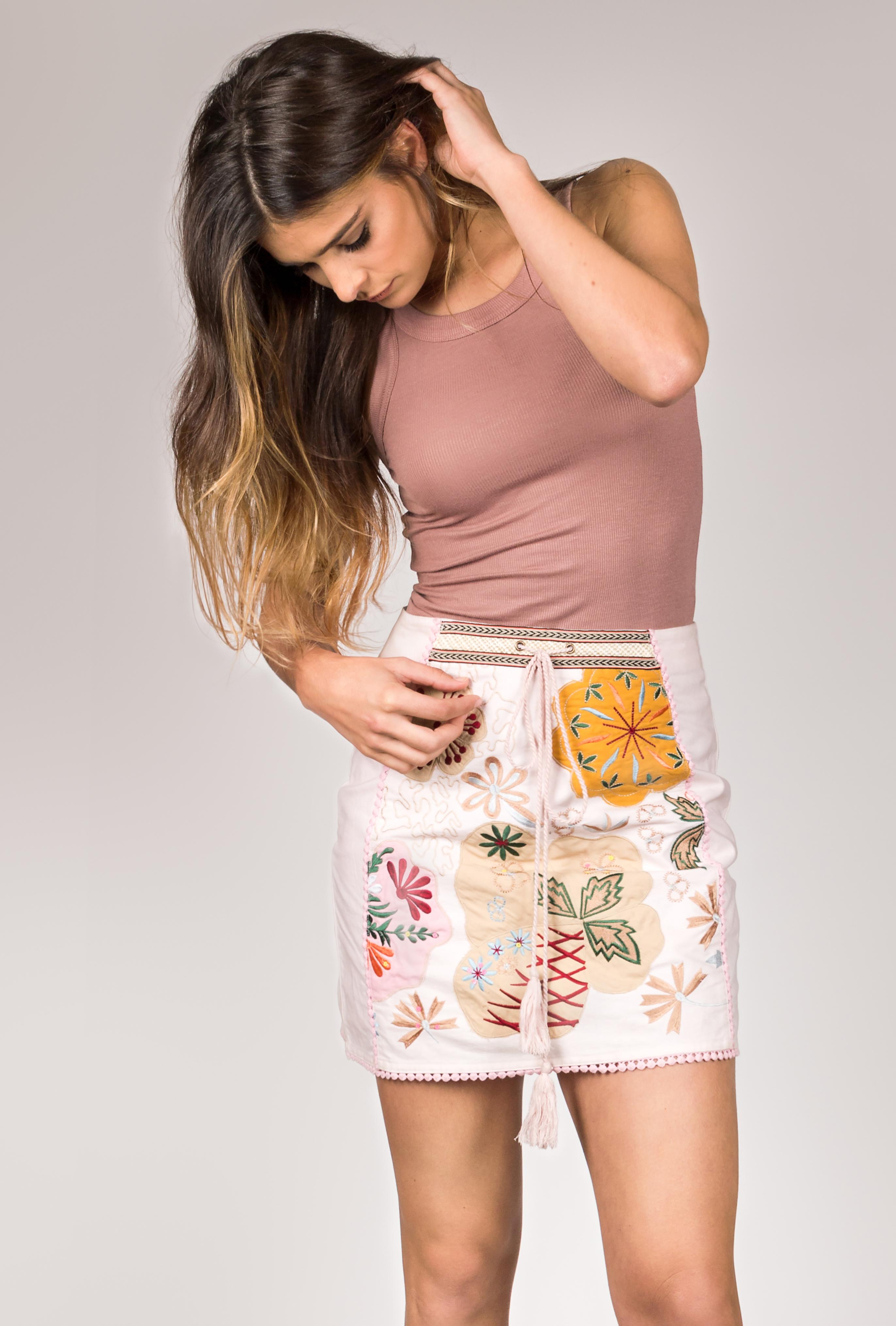 Shoklett: Pale Pink Rose Bouquet Jody MIni Skirt SOLD OUT SHOKLETT_10004s19sk_mini