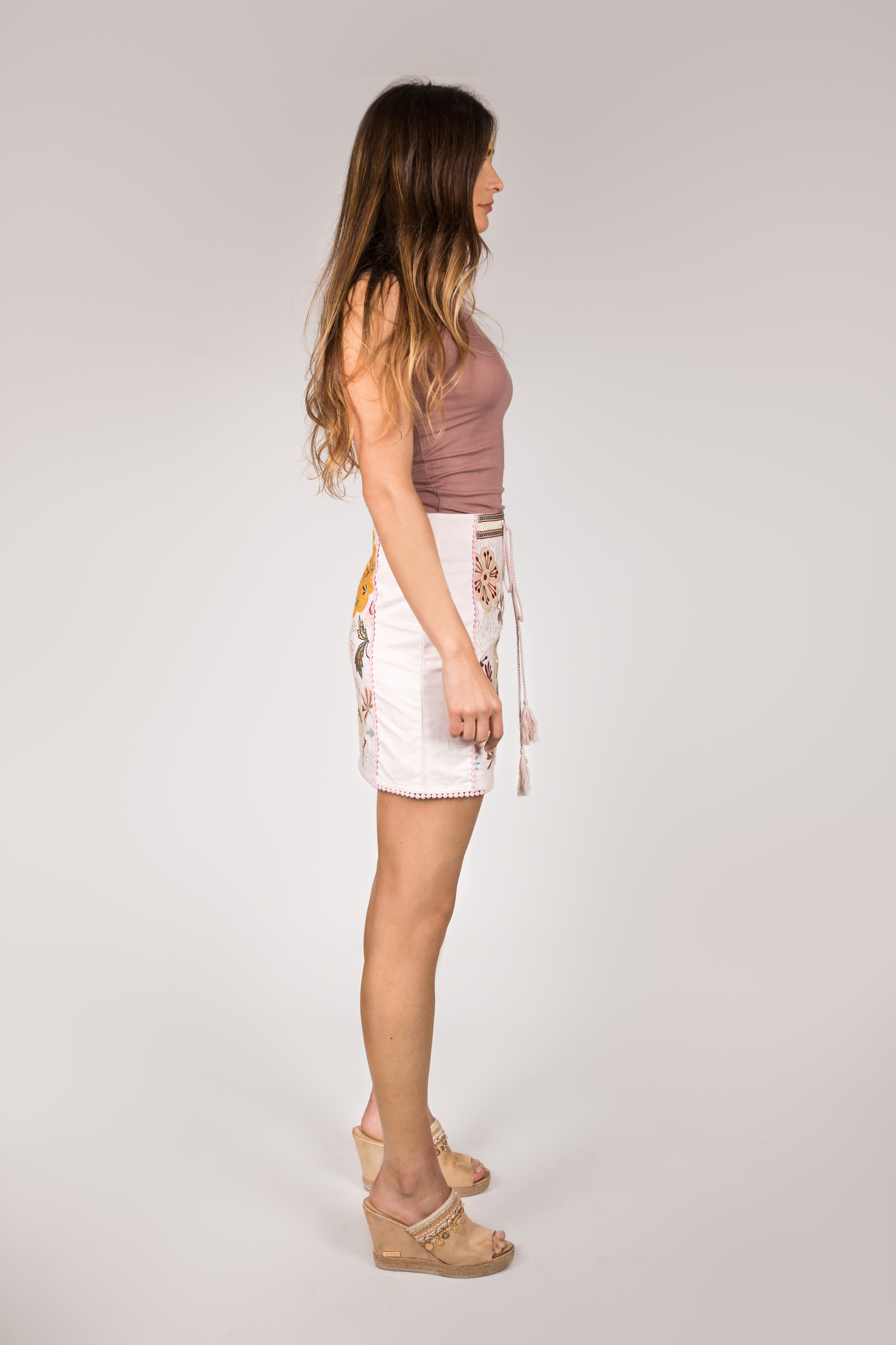 Shoklett: Pale Pink Rose Bouquet Jody MIni Skirt SOLD OUT