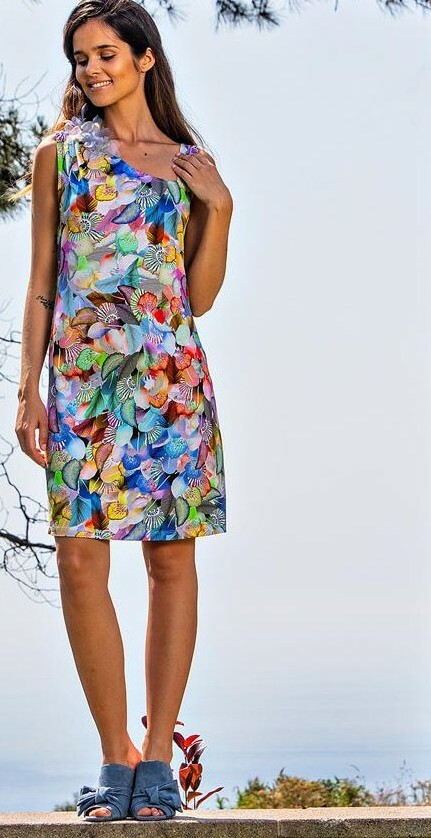 Paul Brial: Colors Of The Water Lily Asymmetrical Dress (2 Left!)