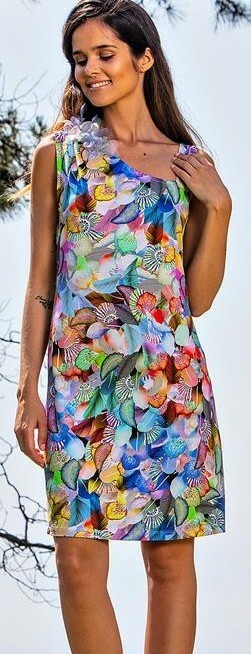Paul Brial: Colors Of The Water Lily Asymmetrical Dress (2 Left!) PB_MAGIE_N1