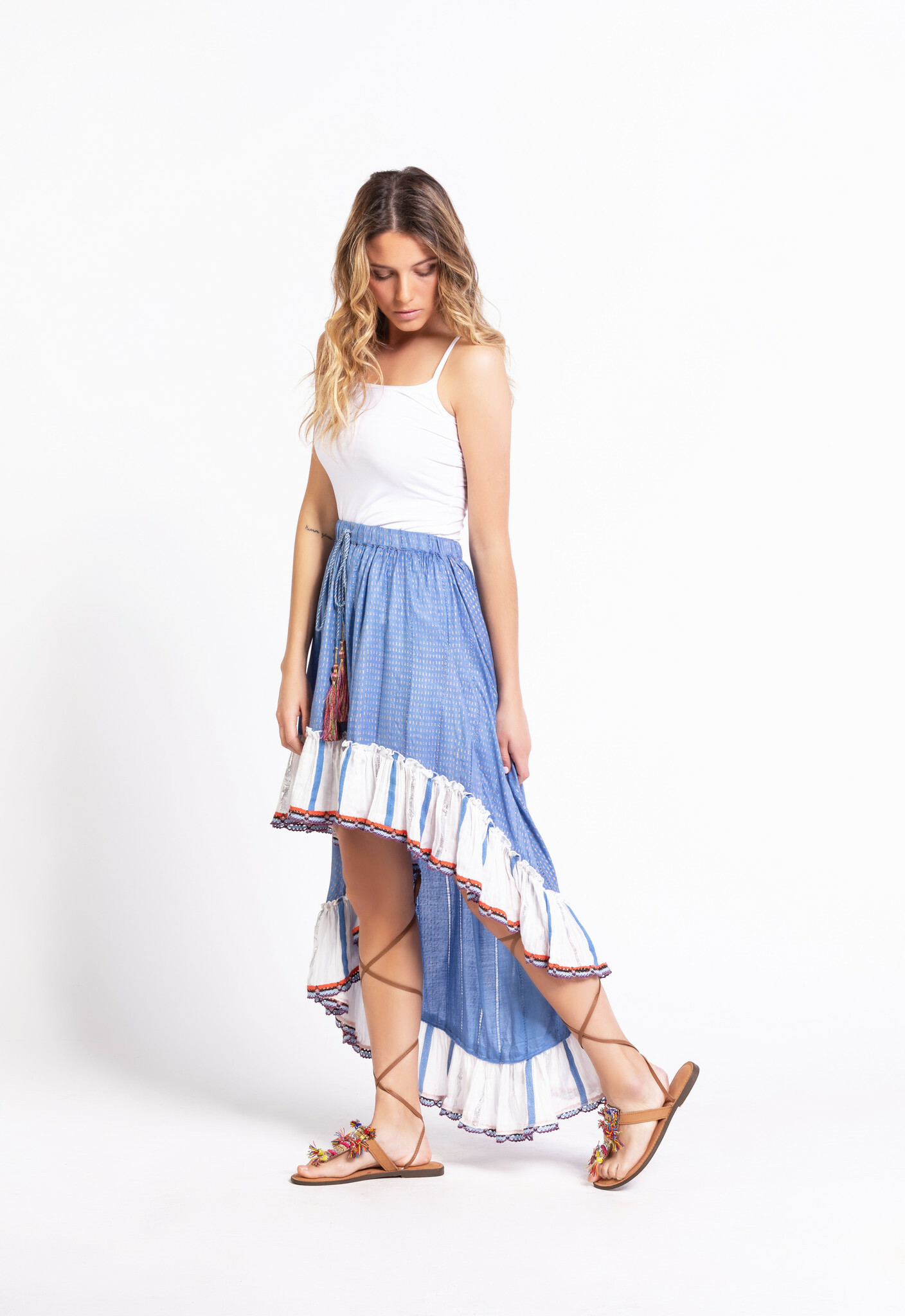 Savage Culture: Crocheted Jean High low Maxi Skirt