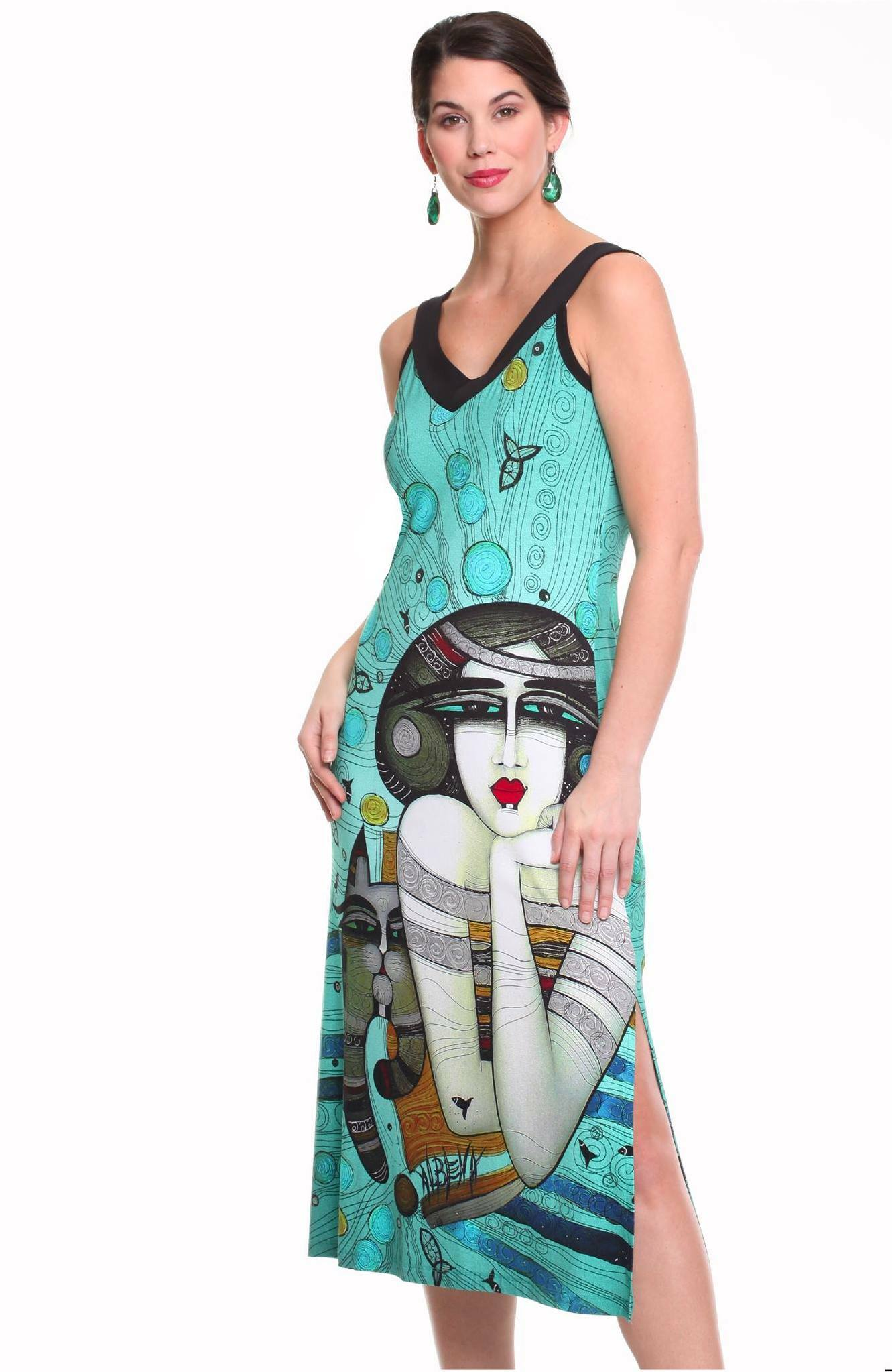 Dolcezza Simply Art: Mermaid Dreamings Flared Art Dress (1 Left!) DOLCEZZA_SIMPLYART_19642_N