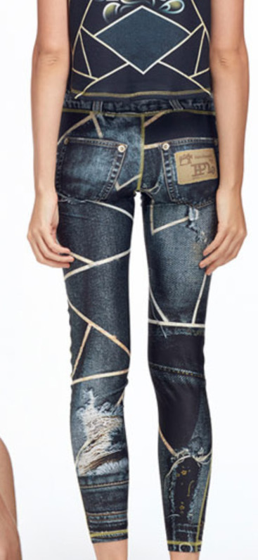IPNG: Love Me Black Ripped Jewels Denim Illusion Legging