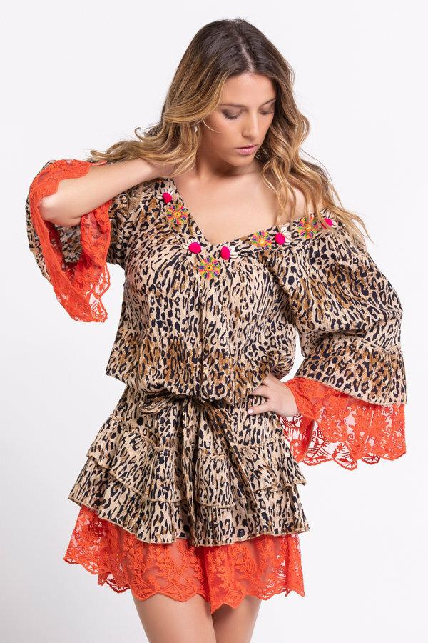 Savage Culture: Pink Orange Leopard Lace Dress/Tunic SAVAGE_36202