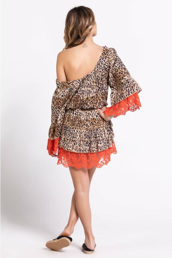 Savage Culture: Pink Orange Leopard Lace Dress/Tunic